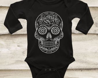 Sugar Skull Baby Outfit, Silver Glitter Skull, Rose Gold Skull, Gold Skull, Skull Shirt for Baby, Glitter Skull Top, Day of the Dead Outfit