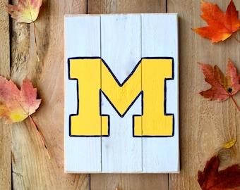 University of Michigan Wooden Sign