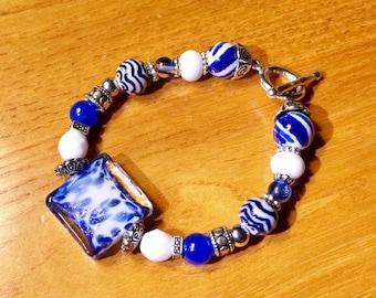 Nittany Lions Game Day Team Spirit Bracelet Penn State Blue and White Bracelet PSU Game Day Bling