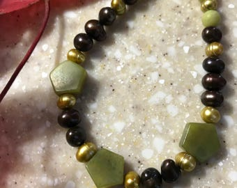 Pearl, Jade and Gold-Filled Bead Bracelet
