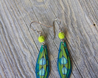 EMERALD LEAVES / Wood Earrings / Women's Jewelry / Gifts For Her / Sustainable / Earrings / Acrylic Painting / Art / Glass
