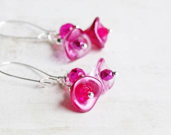 Bright Pink Earrings, Flower Cluster Earrings on Silver Plated Hooks, Hot Pink Dangle Earrings, Czech Glass, Summer Jewelry