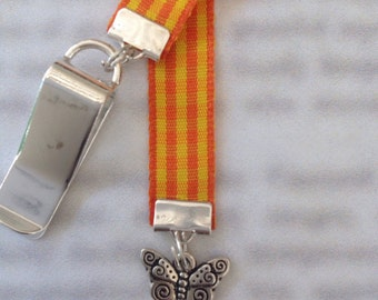 Butterfly bookmark with clip - Attach to book cover then mark the page with the ribbon. Never lose your bookmark!