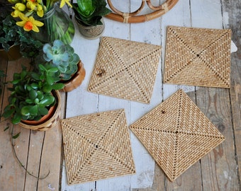 Vintage woven placemats woven place mats - boho decor, zero waste, natural place mats - bohemian, rustic decor, basket place mats