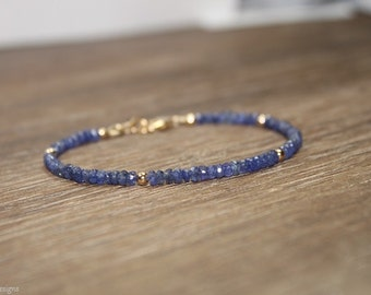 Blue Sapphire Bracelet, Sapphire Jewelry, September Birthstone, Something Blue, Gemstone Bracelet, Gold Filled or Sterling Silver Beads