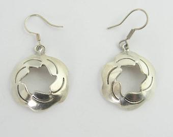 Vintage Wind Power Hoop Earrings- Sterling Silver
