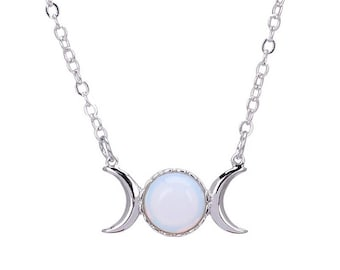 I love you to the moon and back necklace. Moonstone or pink quartz moon pendant. Elegant and dainty necklace