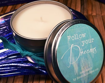 Follow Your Dreams Candle- Chase Your Dreams, Dreamcatcher Inspirational Candle Gift for Her, Friend Gift, Woman Gift Candle, Dream Catcher