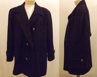 70's Vintage Mackintosh New England Black Wool Pea Coat Size 12