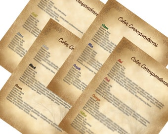 Book of Shadows Color Correspondence