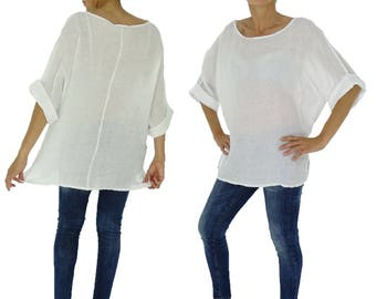 IF300W ladies blouse linen used look tunic 3/4 sleeve one size size 38 40 42 44 46 white