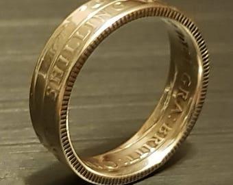1915 UK Shilling Coin Ring