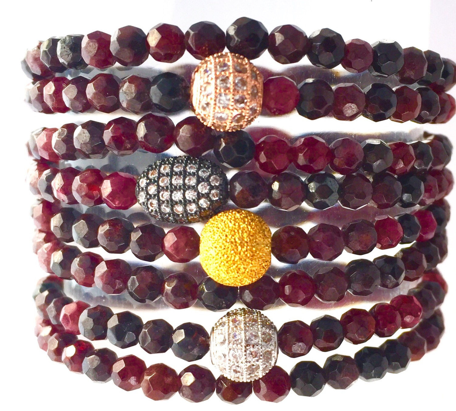 that gemstone handmade stone jewelry bracelet burgundy store beaded black aroma spinel with red garnet product pyrite dark