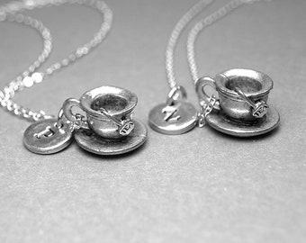 Best friend necklace, tea cup necklace, tea cup and saucer necklace, Tea necklace, Best friend gift, BFF necklace, personalized necklace
