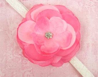 Pink Jeweled Rose Flower Headband Photo Prop