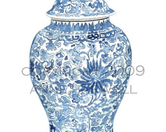 BLUE  and WHITE GINGER Jar Print