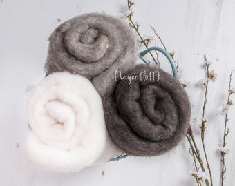 Rustic Wool Layer Fluff, Newborn prop, basket stuff, blanket or wrap. Natural colours, white, taupe. Organic soft versatile look.