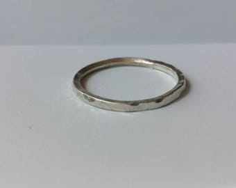 Sterling Silver Ring, Stacking Ring, Band, Hammered Silver Band, Wedding Band