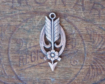 Vintage French Brass Stamping/Antique Style/Pendant/Earring Drop/Arrow/Flower/Art Nouveau/French Findings