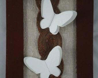 Tableau002 - Tableau marron et papillons blancs en relief