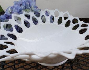 Milk Glass Fancy Bowl Beautiful Lacy Edge Vintage