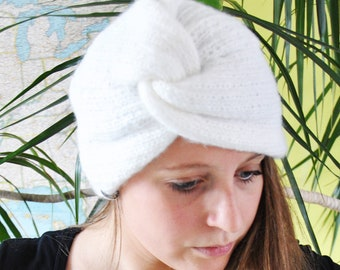 White Turban Beanie Hat For Adult //