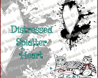 Distressed Splatter Heart - Dark Valentine Collection, original art by Leigh Snaith-Brunton, LeighSBDesigns