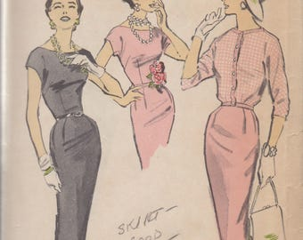 1950's Advance Woman's Day Misses' Sheath Dress and jacket Vintage Pattern