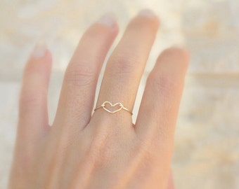 Valentines Dainty Heart Ring - Stacking Ring - Minimalist Jewelry - Dainty Jewelry - Silver Heart Ring -  Minimal Ring open heart ring