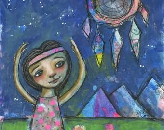 Girl Art, Night Sky, Girls Room Decor, Dreamcatcher, Girls Room Art, Girls Room Wall Art, Whimsical Art, Mixed Media Print, Dream Catcher