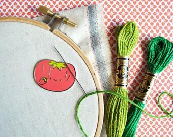 Magnetic tomato pincushion needle minder designed by Mollie Johanson from Wild Olive, enamel needle keeper, enamel pin