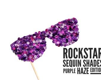 Photo Booth Props - Rockstar Sequin Glitter Sunglasses - PURPLE HAZE EDITION - Birthdays, Weddings, Parties - Photobooth Props