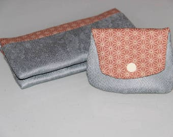 Set bears wallet and checkbook suede grey blue