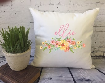 personalized floral throw pillow, floral swag pillow, personalized decorative throw pillow cover, baby shower gift, girl decor