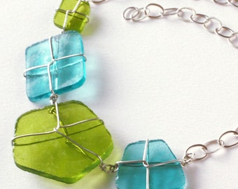 Silver-Wrapped Glowing Glass Necklace