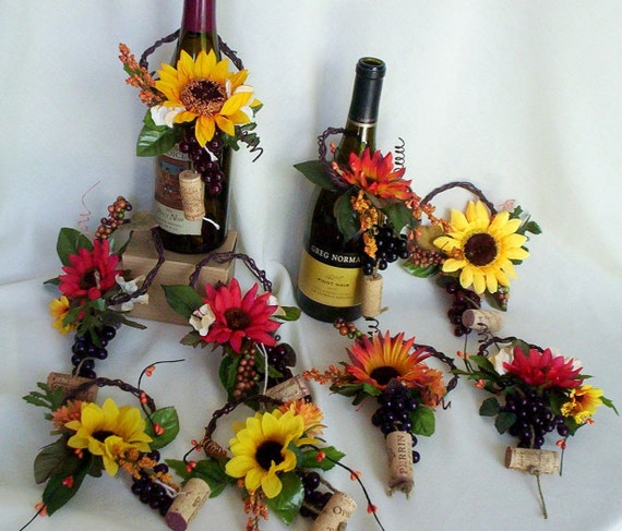 Sunflower bridal centerpieces wine toppers home decor