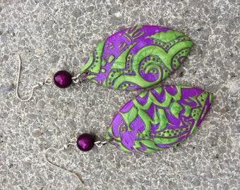 fuchia marzipan shape polymer clay and green earrings