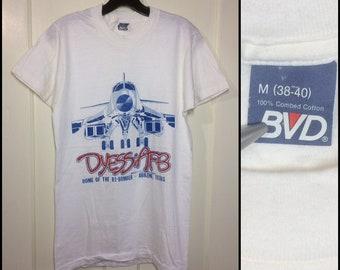 1970s US Air Force Base Dyess AFB Abilene Texas t-shirt size medium 17x28 white bvd B1-bomber airplane military USAF
