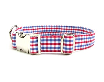 "patriotic plaid DOG Collar~ 3/4"", 1"", 1.5""  or 2"" wide with metal buckle"