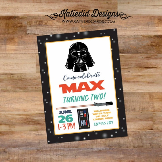 star wars baby shower invitation birthday party boy gender reveal neutral couples coed Darth Vader light saber adults only | 293 Katiedid
