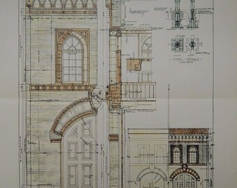 Engine House No 4, San Francisco, California, 1918. Ward & Blohme, Architects. Hand Colored, Original Plan, Architecture, Vintage, Antique