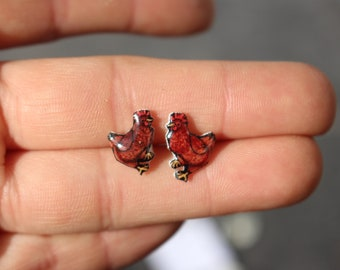 Chicken Earring Rhode Island Red: Gift for Chicken lovers or chicken loss memorial Surgical Stainless Steel Posts