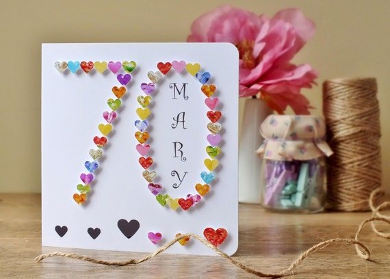 70th birthday card with heart design personalised age 70 like this item bookmarktalkfo Images