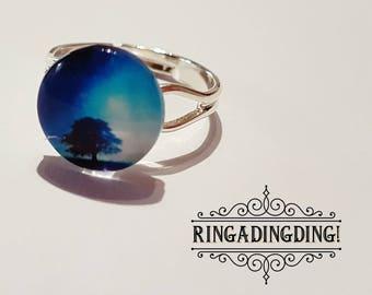 Stunning Adjustable Tree/Blue Horizon Ring - FREE GIFT WRAPPING