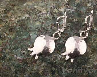 Pomegranate Earrings, Dangle Earrings, 925 Sterling Silver Earrings, EXOTIC FRUIT Jewelry