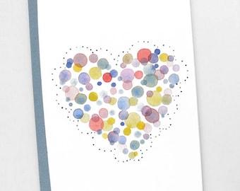 Heart watercolor print notebook, Heart journal, Illustrated heart notebook, Heart dot stationery, Cute heart illustration, Cute stationery