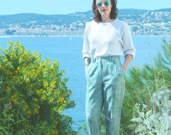 Vintage pants high waist pleated linen green flowers T.38 fluid