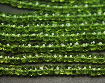 7 Inches Strand, AAA Super Rare Peridot Faceted Rondelles Large Size 6-7mm