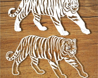 Tigers SVG files for Silhouette Cameo and Cricut. Tigers clipart PNG transparent included.