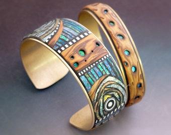 2 Iridescent Mosaic and Faux Wood Brass Cuff Bracelets